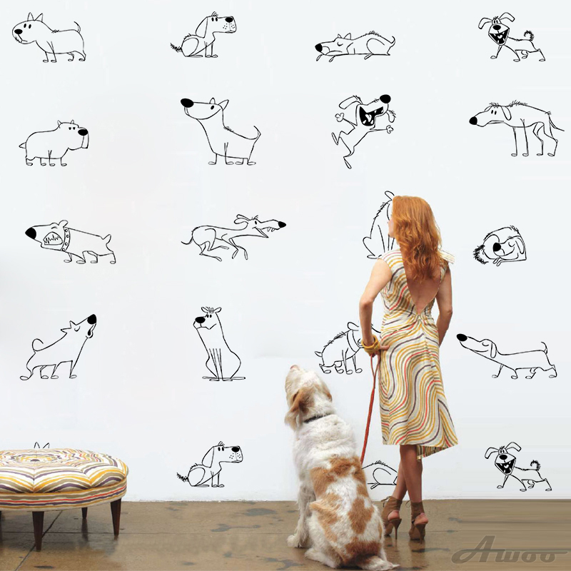 Nordic Style Animal Dogs Wall Stickers Wallpaper Furniture Cabinets Decal Kids Room DIY Decoration Home Decoration