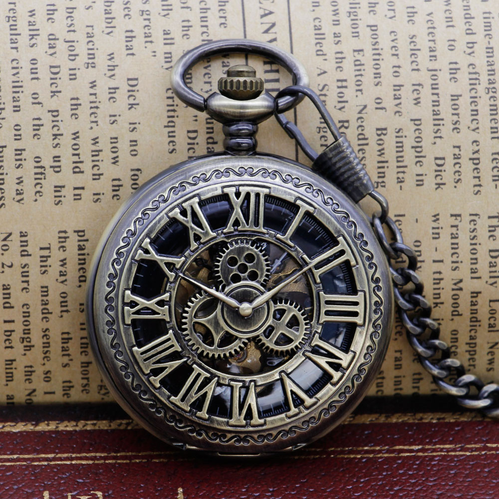 Mechanical Pocket Watch Steampunk Vintage Gear Analog Skeleton Hand Winding Mechanical Pocket Watch