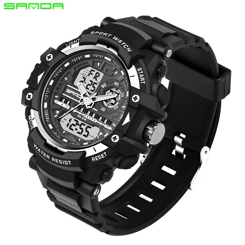 SANDA Fashion Digital Watch Men Camping Diving Military Sport Watch Geneva Clock For Male Men Wrist Watch Relogio Masculino