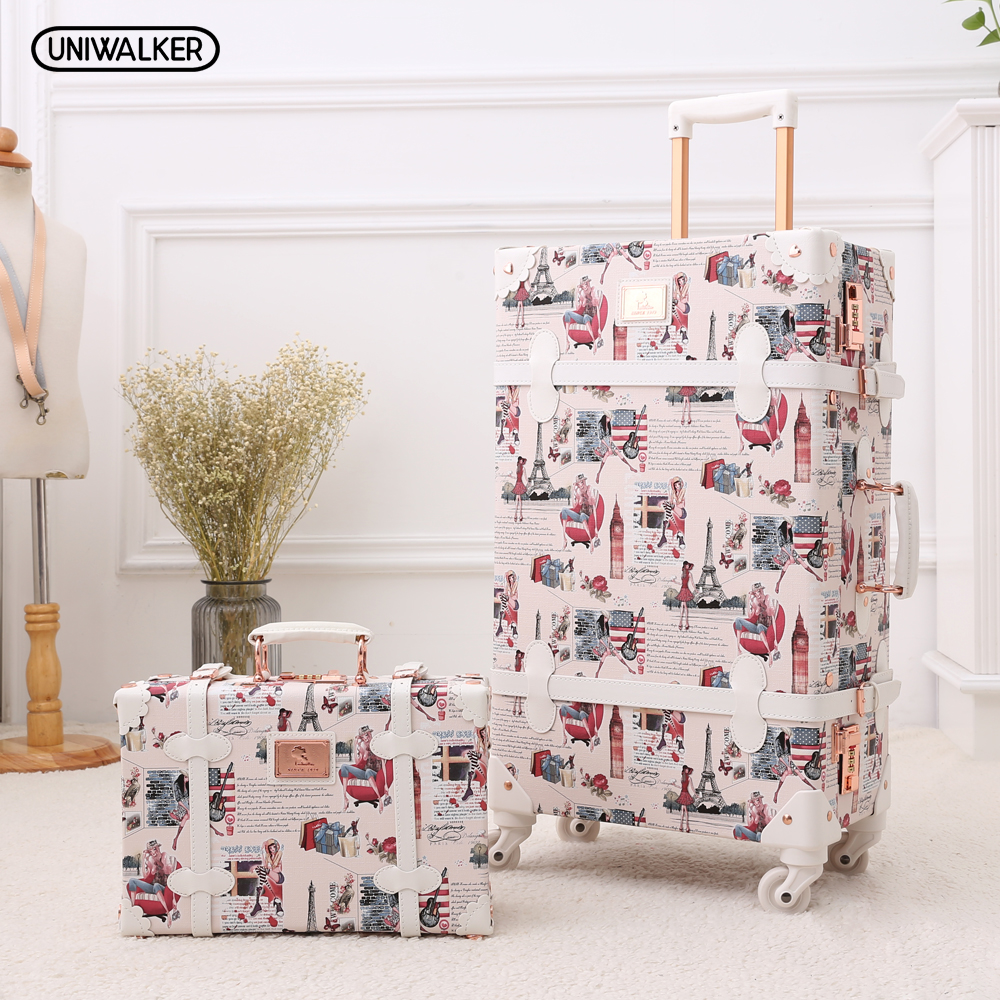 UNIWALKER 20 - 26 Tower Women Retro Rolling Luggage Pu Leather Suitcase Trunk Vintage Luggages With Spinner Wheels for Girls 20 26 dark green vintage suitcase pu leather travel suitcase scratch resistant rolling luggage bags with universal wheels
