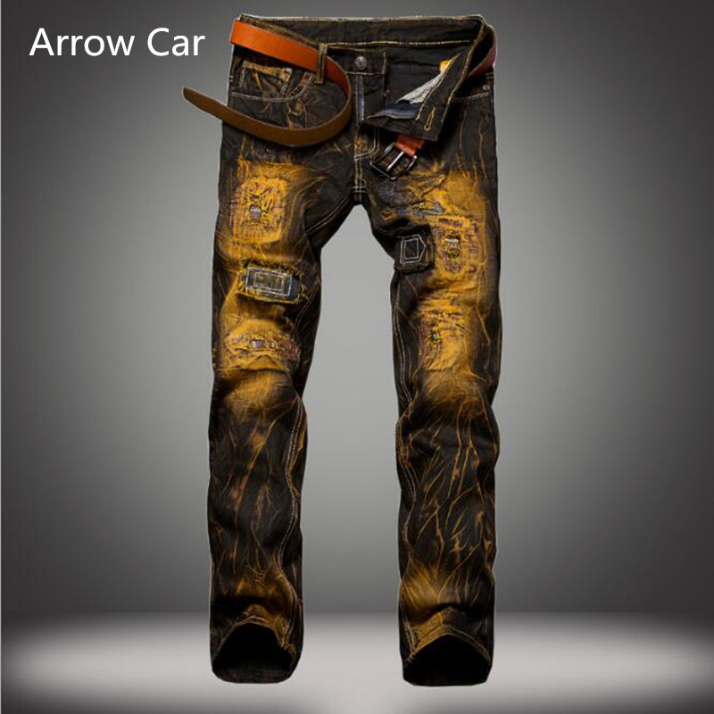Aroow Car Jeans Mens Brand Hole European Style Old Slim Straight Jeans Cotton Tie-dye Me ...