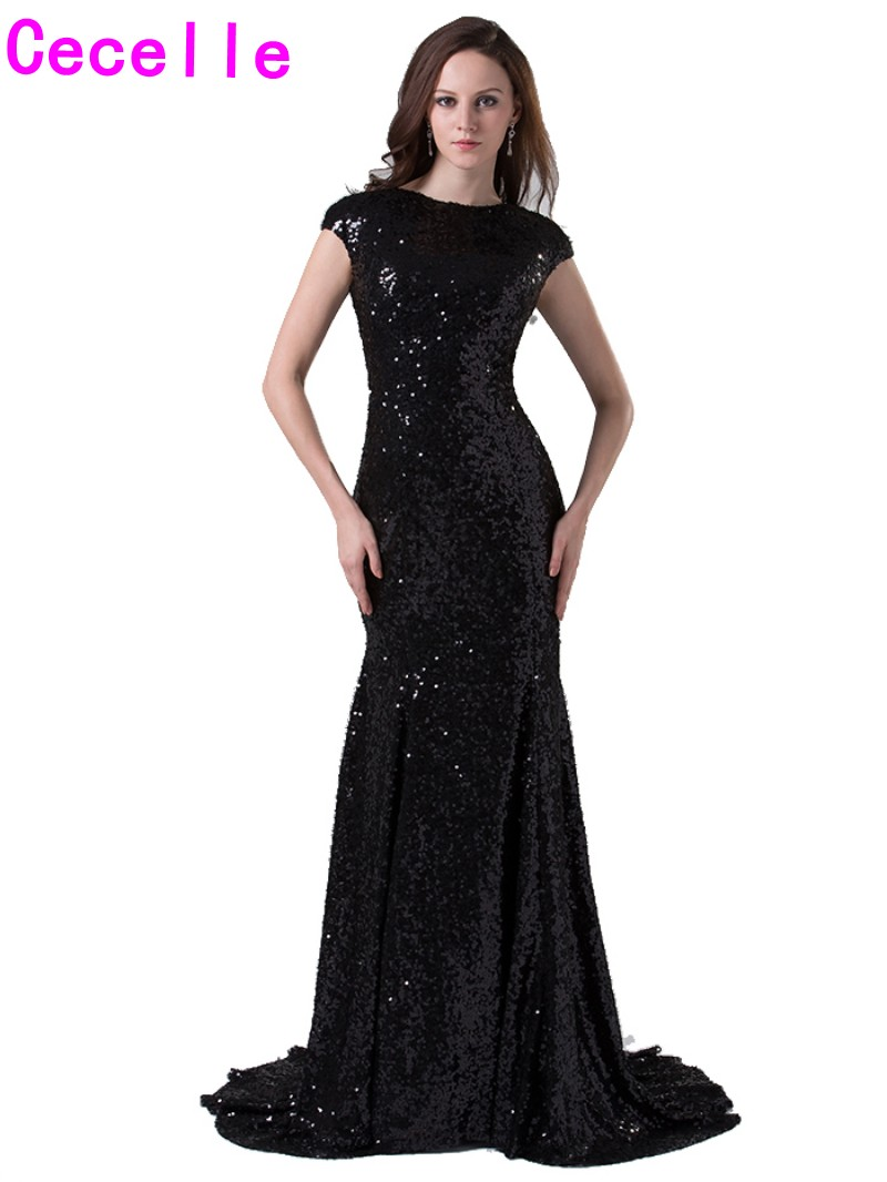 Compare prices on black dresses bridesmaid online shoppingbuy 2017 black mermaid modest bridesmaid dresses with cap sleeves jewel neck with train simple country women ombrellifo Images