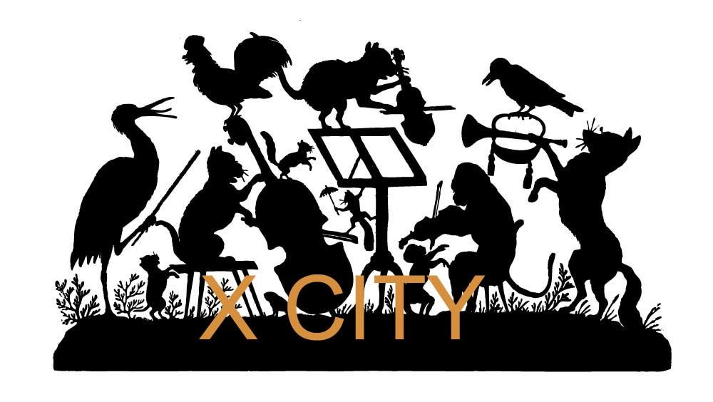 Forest Animal Band Concert Cartoon Silhouette Wall Art