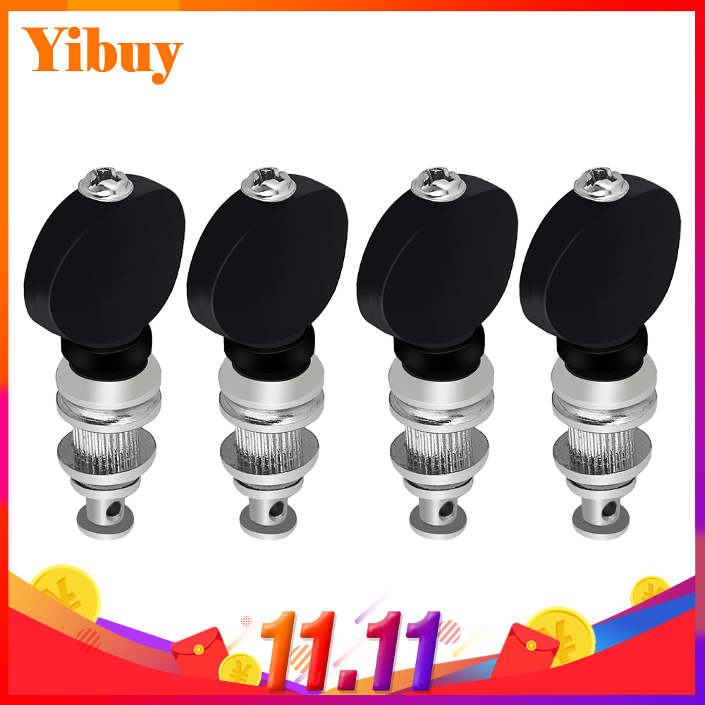 Yibuy 4pcs Ukulele Tuning Pegs Pin Machines Tuners Black High Precision