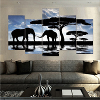 Canvas Printings African Landscape Elephant Picture Painting Wall Art Home Decoration 5 PCS Canvas Unframed Free