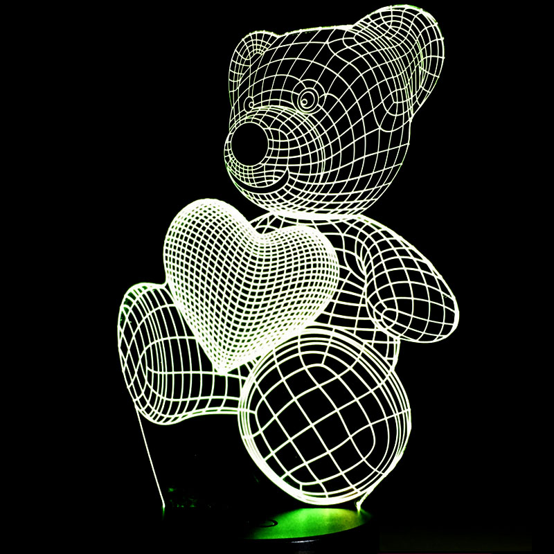 Dessin animé mignon coeur ours tenir coeur forme acrylique lampe à LED 3D bébé veilleuse éclairage de sommeil P20