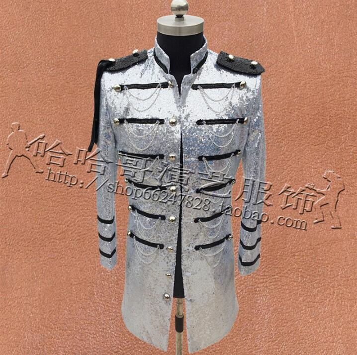 Multi-breasted Clothes Men Sequins Suits Designs Stage Costumes For Singers Jacket Mens Blazers Dance Star Style Black Silver