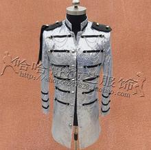 Wielowarstwowe ubrania męskie cekiny garnitury wzory kostiumy sceniczne dla piosenkarki kurtka męskie marynarki taniec styl gwiazdy czarny srebrny tanie tanio POMOUCCI Pojedyncze piersi Marynarek Poliester COTTON Pełna Anglia styl Krótki Ścięty Suit Jackets Broadcloth piece