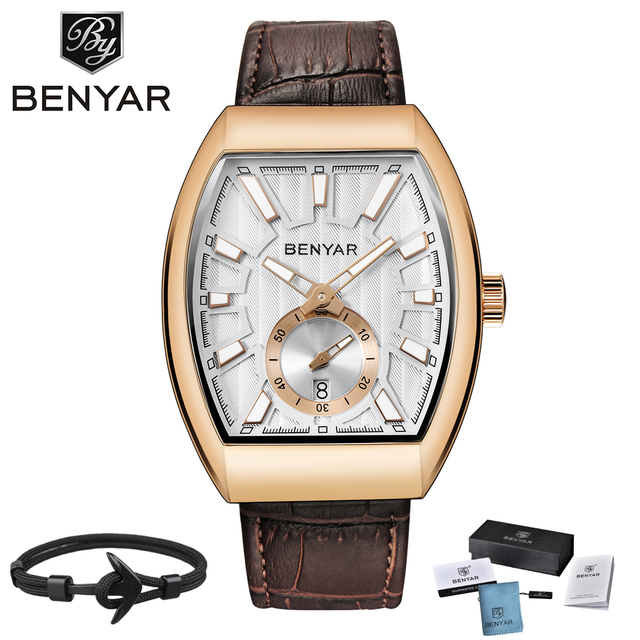 2018 Luxury BENYAR NEW Quartz Mens Watches Brand Men Military Leather Male Sports Watch Hour Date Waterproof Relogio Masculino