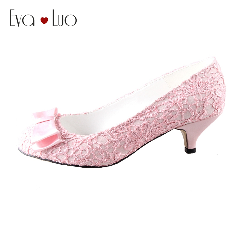 0b083d718ea6a CHS467 DHL Express Custom Handamde Bow Kitten Low Heel Light Pink Lace  Bridal Wedding Shoes Women Shoes Dress Pumps