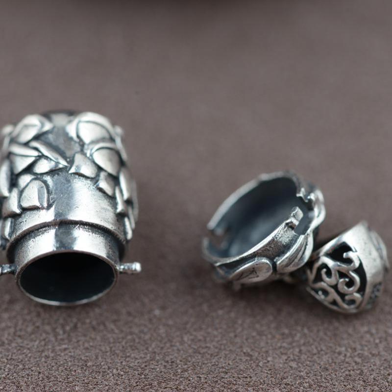 Gerçek 925 Ayar Gümüş Buda Lockets Yüzer Mantra Lotus Kolye - Kostüm mücevherat - Fotoğraf 2