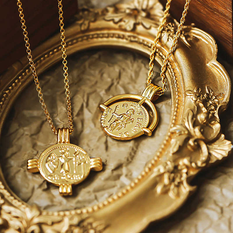 Boho Cross Necklace Double Layered Necklace Gold Chain Choker Coin Necklace Women Accessories Collares Femme