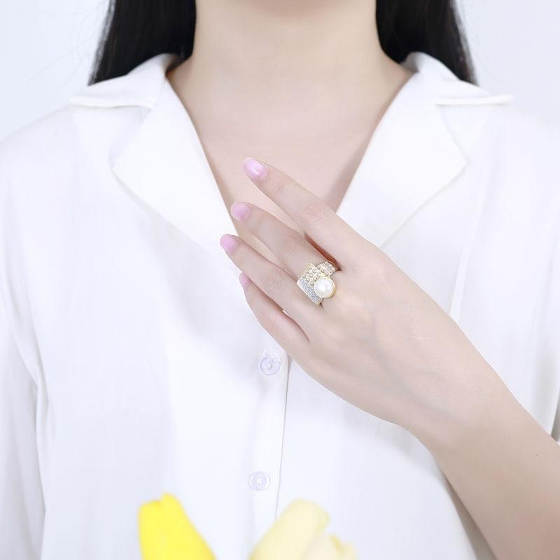 Baroque perle anneaux pour femmes bijoux 925 en argent sterling 10mm perle anneaux or fait à la main design géométrique face avant naturel - 5