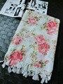Za 2016, señoras bufandas de la flor, Rosa bufanda de la flor, hijab floral, hijab Musulmán, bufanda de la borla, chales y bufandas, cabo, mantones wraps