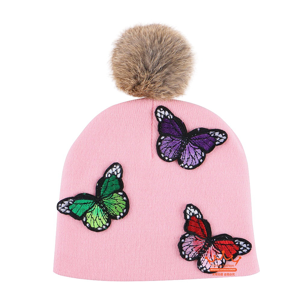 0-2 year old girl boy baby beauty beanie knitted winter hat real animal pompom character brand cotton skully gorros crochet cap