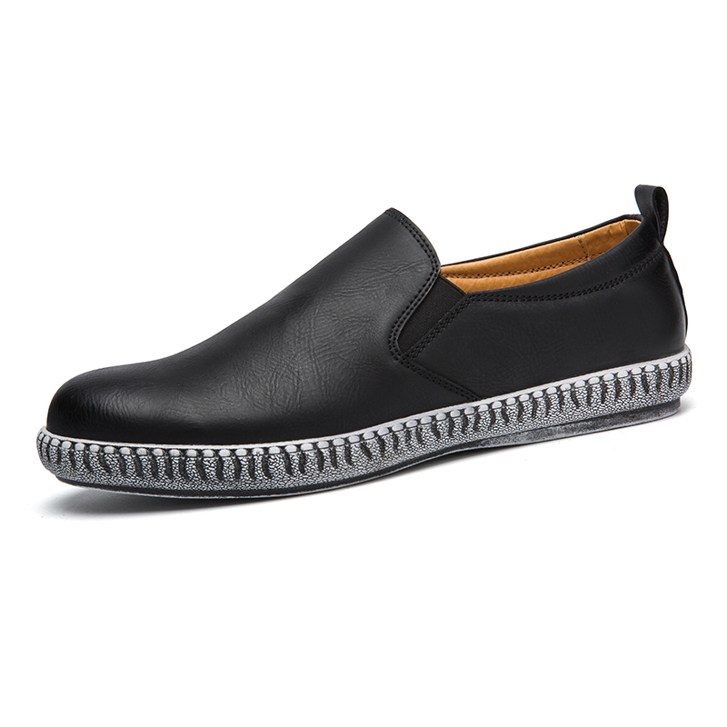 ФОТО 2016 New men Loafers Casual Flats Heels Round Toe Black  Shoes Autum Classical  Fashion Men Leather Low Top Flat Brogue Shoes