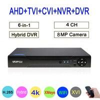 8MP 4K Surveillance Camera XMeye Hi3521D 4CH 4 Channel Hybrid WIFI 6 in 1 H.265+ XVI TVI CVI NVR AHD CCTV DVR