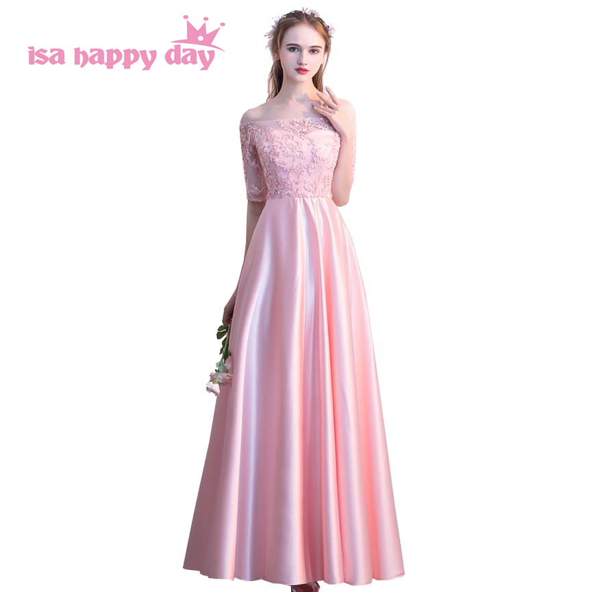 ladies long pink 2019 off the shoulder beautiful women   prom     dress   satin   dresses   long modest ball gowns sleeved gown H4180