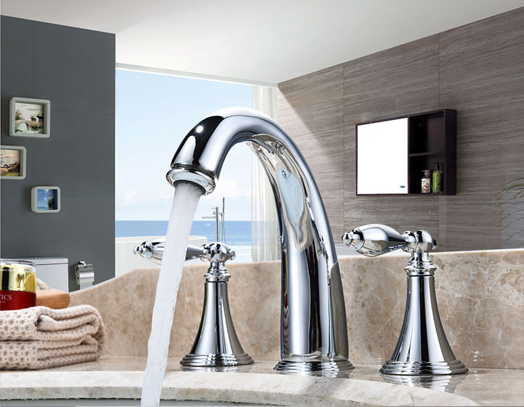 Copper split lavatory faucet hot and cold double open three hole washbasin bathroom bathroom cabinet faucet LU41324 lanos torneira all copper split three piece three hole basin faucet flat water double tube factory direct the hot and cold taps