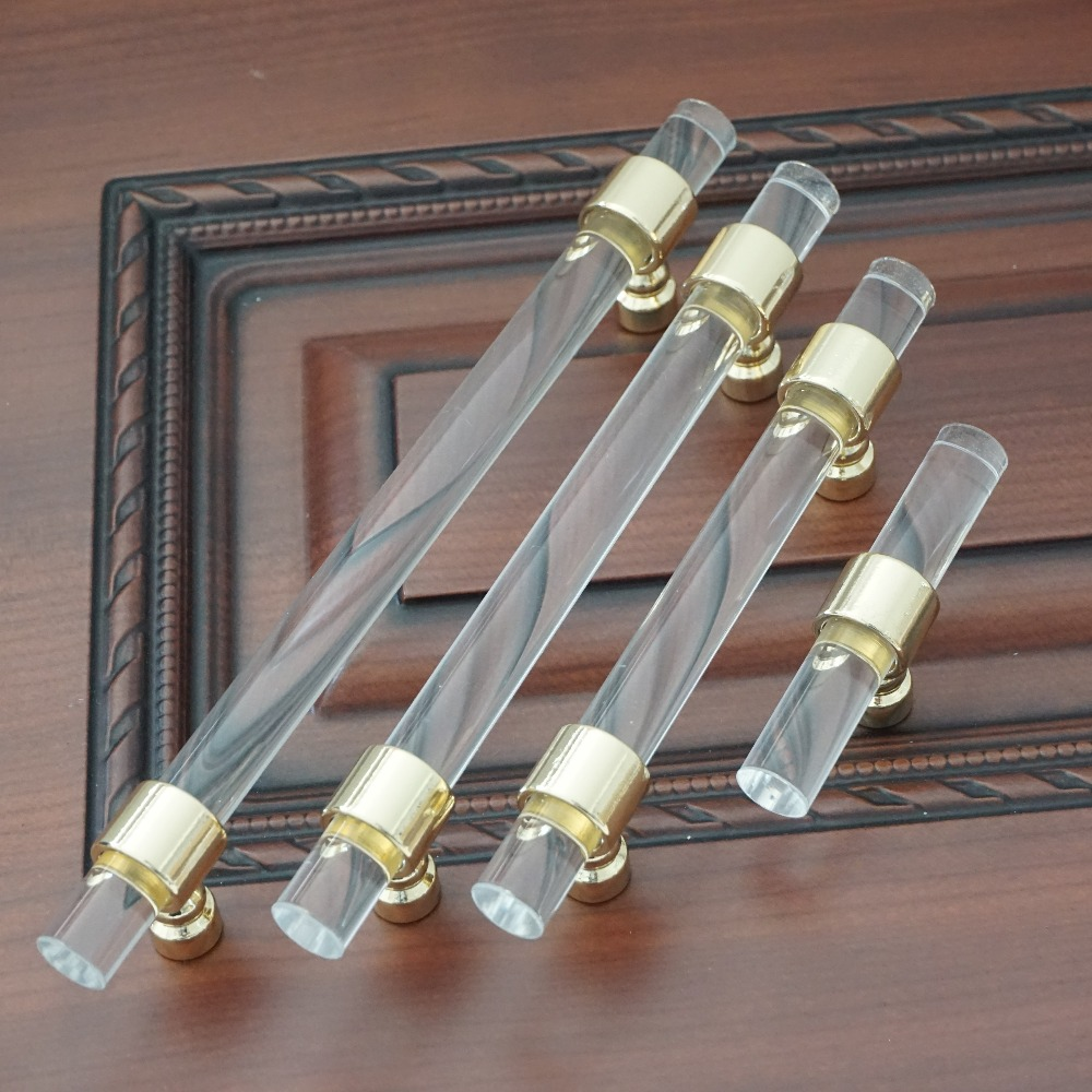 3.75 5 6.3 Dresser Pulls Drawer Handle Acrylic Clear Gold Dresser Pulls Kitchen Cabinet Door Handle Pull Knob Hardware Modern 128mm retro rural ceramic furniture handle bronze dresser kitchen cabinet door handle pull 16mm antique brass drawer knob 5