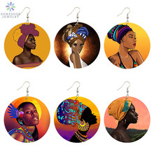 SOMESOOR African Headwrap Woman Printed Portrait Earrings Afrocentric Ethnic Art Painting Retro Smart Blacks Wooden Ear Jewelry