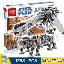 1788 adet-ot at walker star wars 05053 cumhuriyet ile dropship diy modeli yapı taşları lego ile uyumlu oyuncaklar
