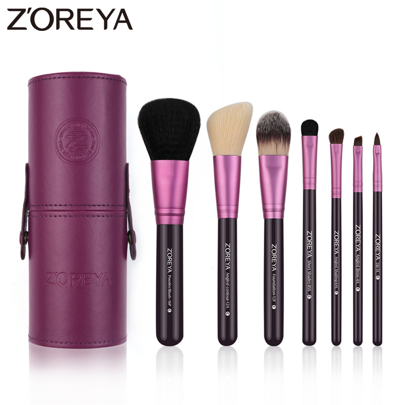 ZOREYA 7pcs Goat Hair Synthetic Hair Makeup Brushes Natural Wooden Handle Cosmetic Sets With Make Up Case 4 Colors Available