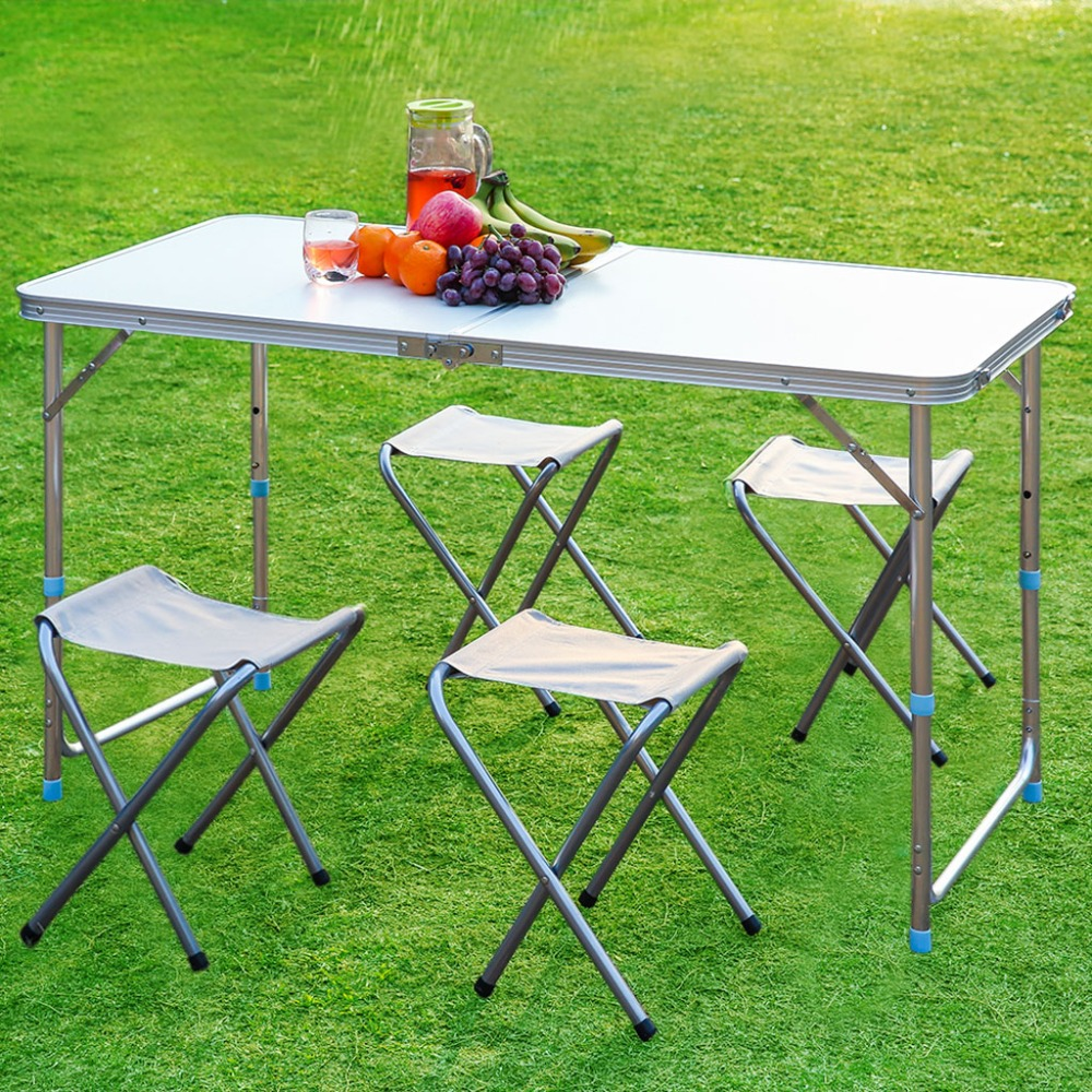 Finether Folding Outdoor Table Stool Set Ultralight Height Adjustable Aluminum Portable Table for Dining Picnic C&ing BBQ-in Outdoor Tables from Furniture ... : dining table stools set - pezcame.com