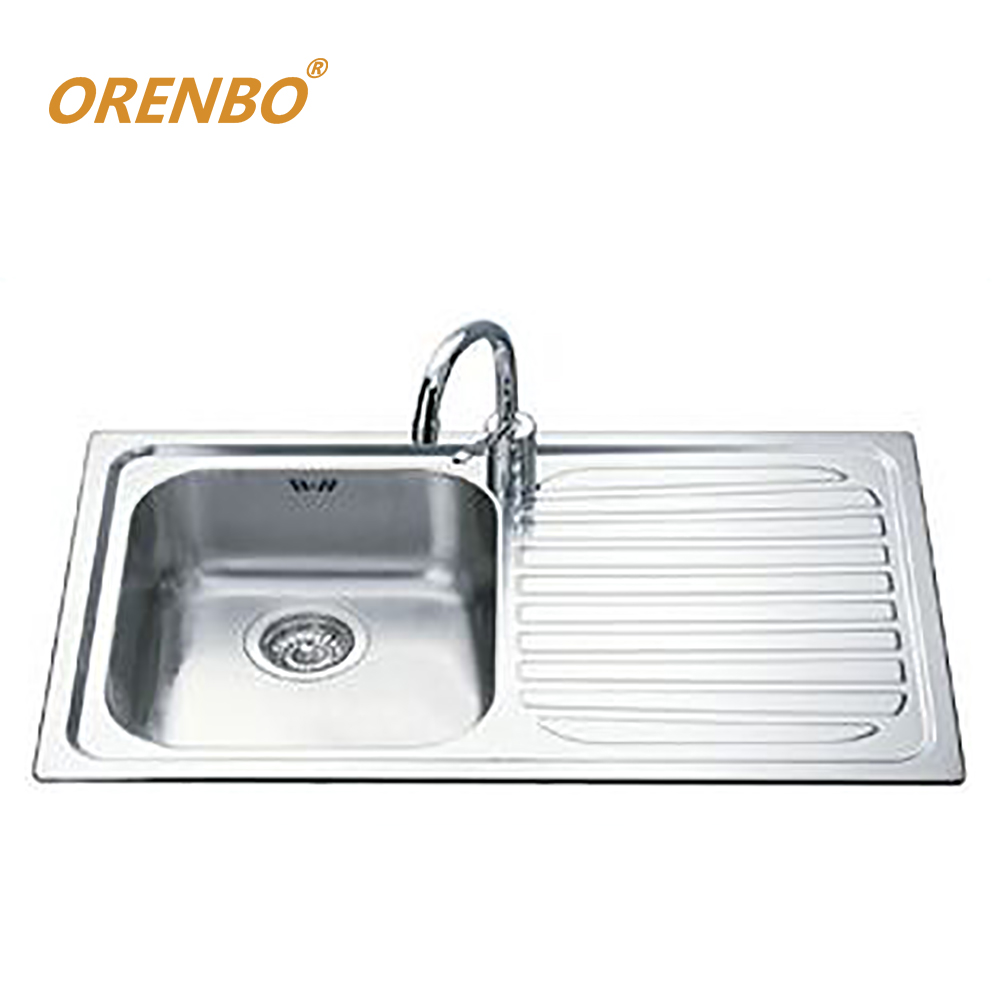 116 cm stainless steel double bowl single drainer inset sink right - Orenbo Square Kitchen Sink Stainless Steel Right Wing Sink Single Bowl Vegetable Washing Basia Without Kitchen Fauct