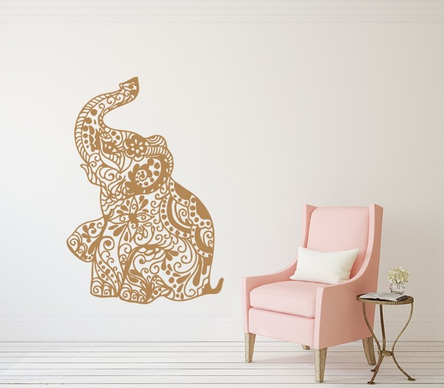 Aliexpresscom Buy Bohemian Elephant Wall Decals Floral Patterns - Elephant wall decals