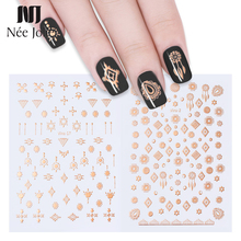 NEE JOLIE 1 Sheet 3D Nail Sticker Metallic Rose Gold Tribal  Lines  Star Moon Nail Art Adhesive Transfer Sticker DIY