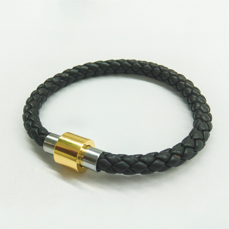 Brass Magnet Clasps Men Leather Cord Bangles 3 Colors Leather Bracelets For Women Men`s Casual Wristband Rope Braided Jewelry