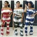 2016 nueva moda de alta calidad de las mujeres atractivas del club de volantes tie dye imprimir recortada tops y pantalones anchos de la pierna pantalones de dos piezas conjuntos de trajes