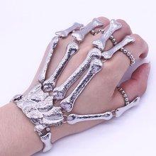 Halloween Props Gift Fun Nightclub Party Punk Finger Bracelet Gothic Skull Skeleton Bone Hand Finger Bracelet Party Decoration недорого