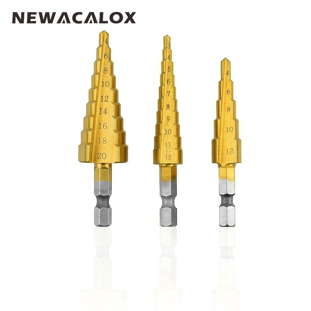 NEWACALOX Sechskant Schnellarbeitsstahl Holz Metall Bohren Titan Schritt Bohrer 3-12mm 4-12mm 4-20mm HSS Elektrowerkzeuge 3 teile/satz
