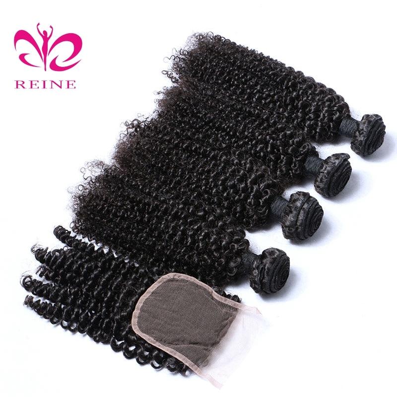 KINKY CURLY 4 buntar med stängning peruanskt hår 100% mänskligt - Mänskligt hår (svart)