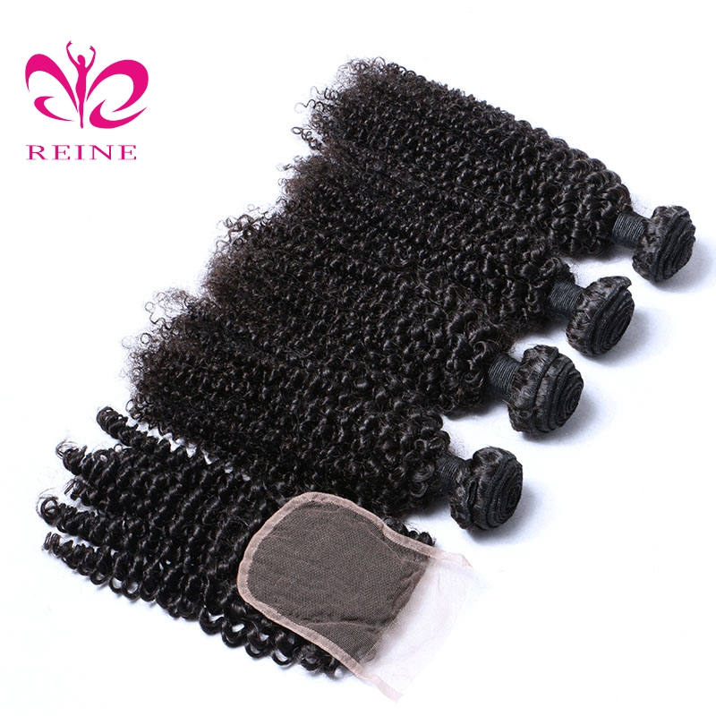 KINKY CURLY 4 bundles with closure peruvian hair 100% human hair NATURAL COLOR 4piece/LOT REINE NON REMY free shipping