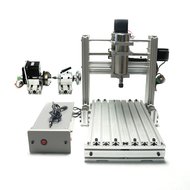 DIY CNC 3020 3 Axis 4 Axis Mini Wood 2030 CNC Engraving Machine Milling Lathe cnc router wood milling machine cnc 3040z vfd800w 3axis usb for wood working with ball screw