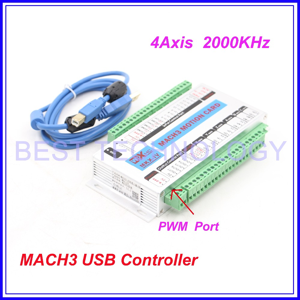 Free Shipping 4 Axis MACH3 USB CNC Motion Control Card frequency 2000KHZ CNC Controller support stepper motor and servo motor.