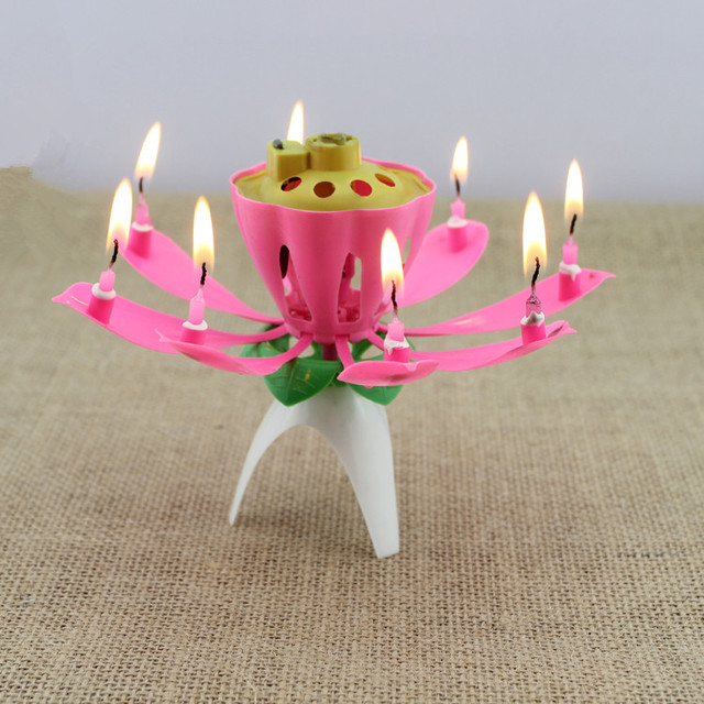 100pcs Lot Musical Lotus Flower Candles Happy Birthday Romantic Party Gift Free Shipping