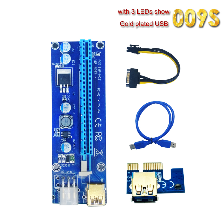 все цены на High Quality VER 009S PCI-E 1X to 16X Riser Card Extender PCI Express 6pin sata Adapter USB 3.0 Cable for BTC miner machine онлайн