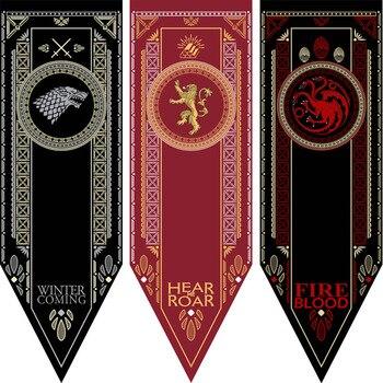 Lannister Jogo Certo Da Bandeira Da Bandeira Fontes da Festa de Família Stark Game of Thrones Torneio Banners Noite Bandeira Relógio de Parede Decoração