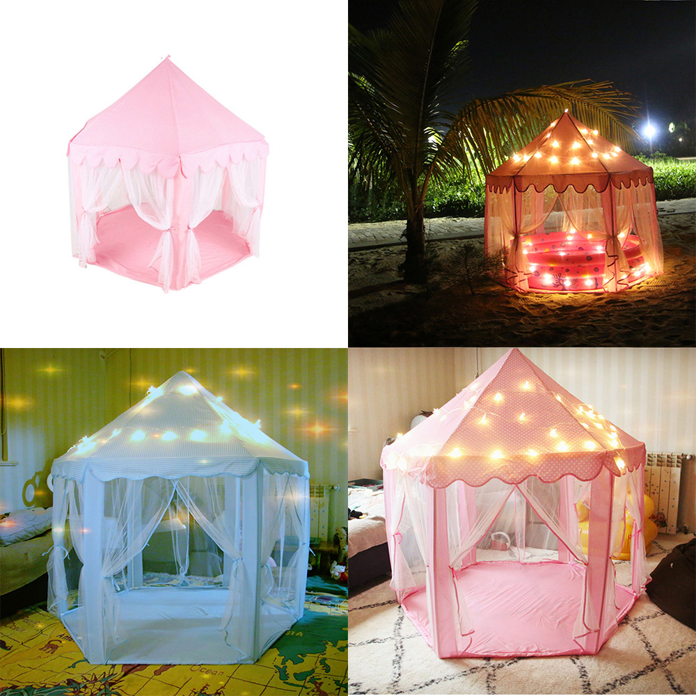 Hexagonal Princess Castle Play House Tent Lodge With LED Twinkle Star String Lights Children Outdoor Garden