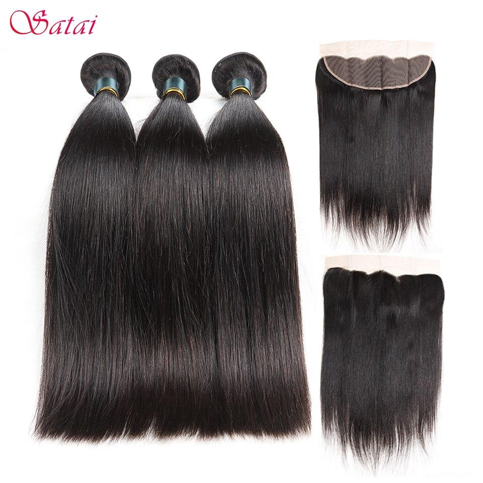 Satai Brazilan Straight Hair Human Hair 3 Bundles With Frontal Best Brazilian Hair Frontal With Bundles