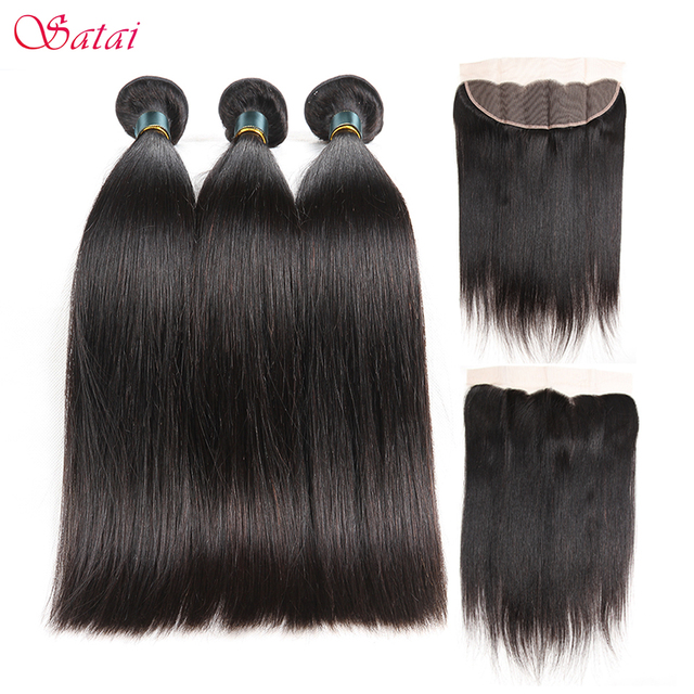 Satai Brazilan Straight Hair Human Hair 3 Bundles With Frontal Best Brazilian Hair Frontal With Bundles Non Remy Hair Extension
