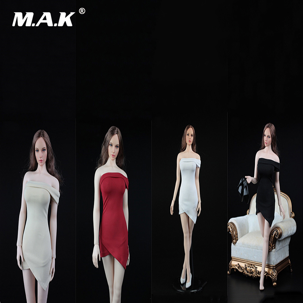 все цены на 1:6 Sexy Women's Shoulder Dress Female Stretch Shirt Skirt Shoulder Short Dress Sets for 12 Inches Action Figure Body онлайн