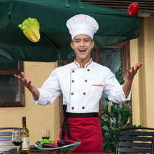 Fashion Restaurant Kitchen Chef Jackets Coats Uniform Double-Breasted Buttons Long Sleeve White Top Tooling Uniform