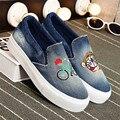 Взрослых Повседневная Обувь Женщины Denim Холст Резина Дышащий глубоким вырезом Квартиры Кошка Мечта Летние Удобную Обувь для Женщин