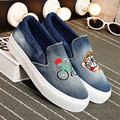 Adult Casual Shoes Women Denim Canvas Rubber Breathable Low-cut Flats Dream Cat Summer Solid Shoes for Woman