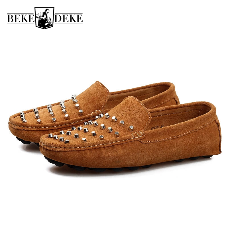 Fashion Men Pu Leather Loafers Breathable Slip On Rivet Casual Shoes Male Soft Leather Comfortable Flat High Quality Big Size 44 dxkzmcm genuine leather men loafers comfortable men casual shoes high quality handmade fashion men shoes